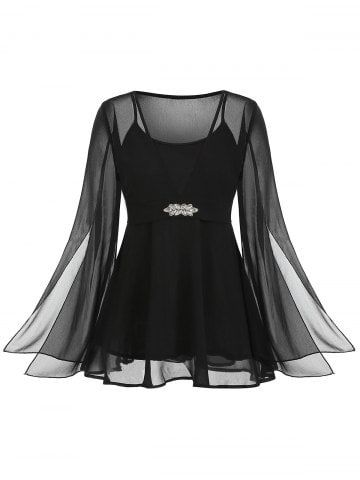 Plus Size Split Sleeve Rhinestone Peplum Blouse