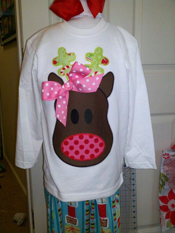 Funky Reindeer Girl Machine Applique Design