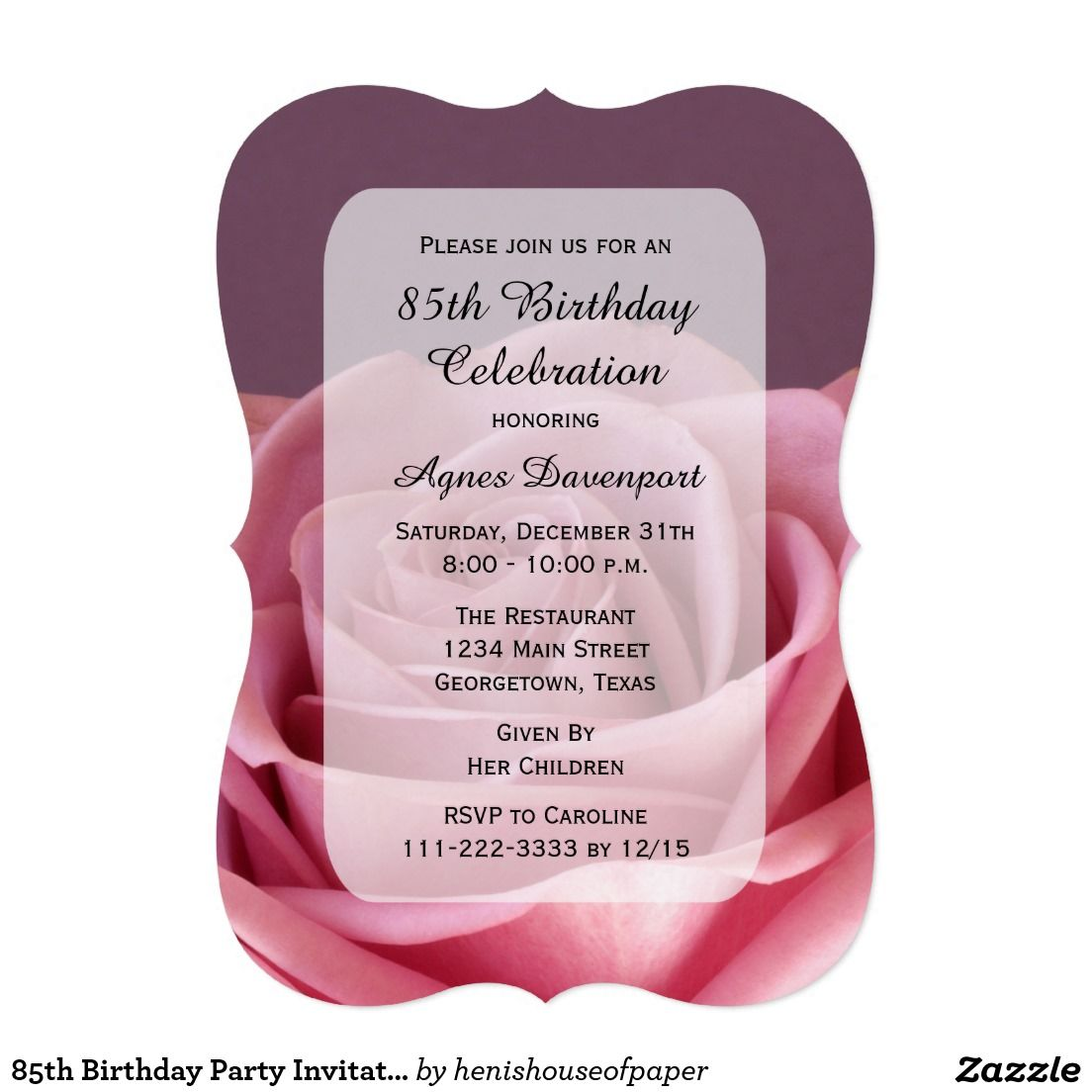 85th birthday party invitation lovely rose invitation pinterest 85th birthday party invitation lovely rose filmwisefo