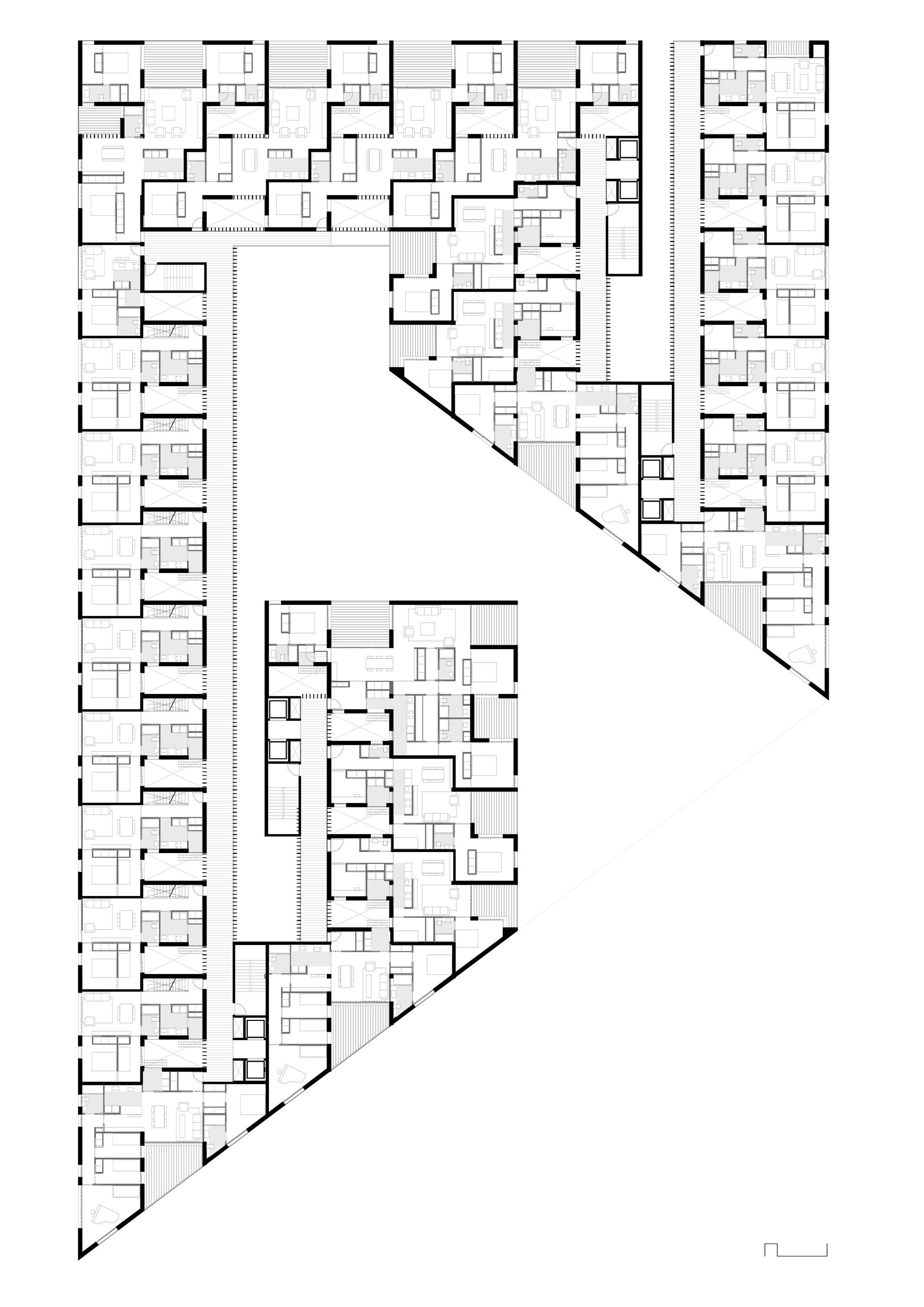 Europan 11 Cerdanyola Josep Ferrando Marc Nadal David Recio Hotel Floor Plan Social Housing Architecture Architectural Floor Plans