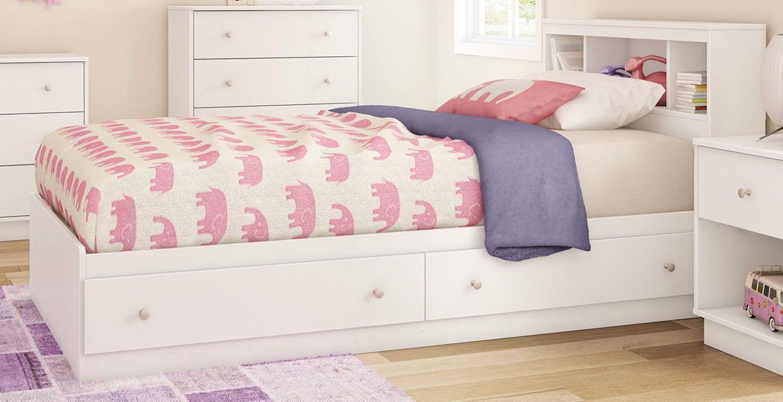 Modern White Twin Storage Platform Bed Bedroom Furniture Frame ...