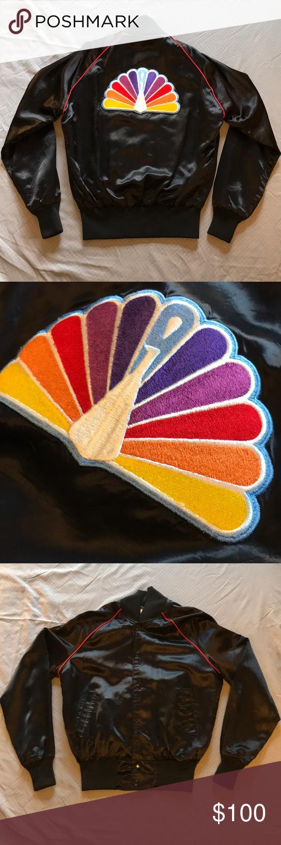 Vintage NBC Peacock Logo Satin Bomber Jacket Peacock
