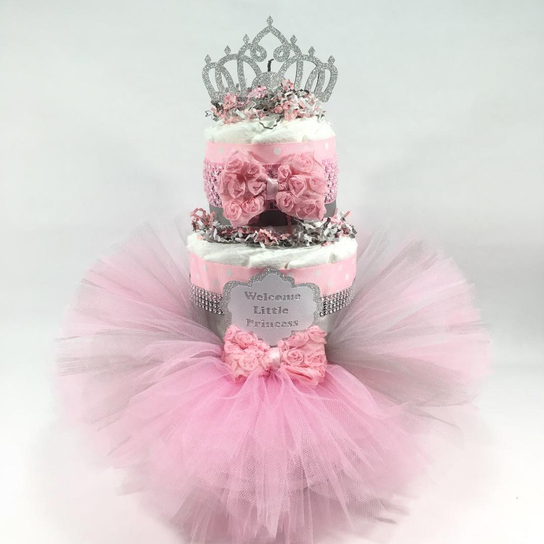 Pink Silver Tutu Princess Girl Diaper Cake Centerpiece 3 Layer
