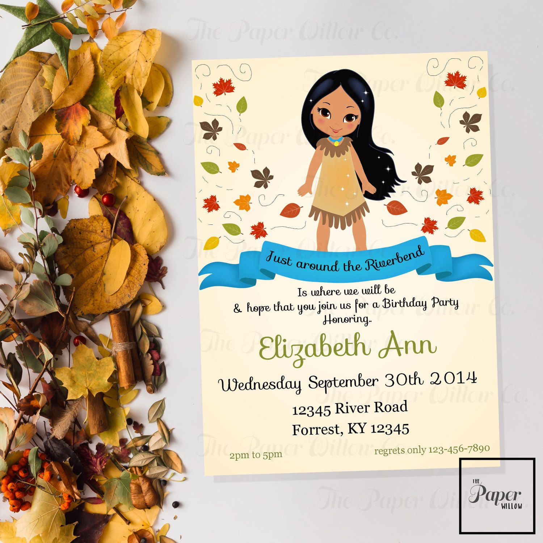Pocahontas Birthday-Printable Invitation-Print Yourself-INSTANT ...