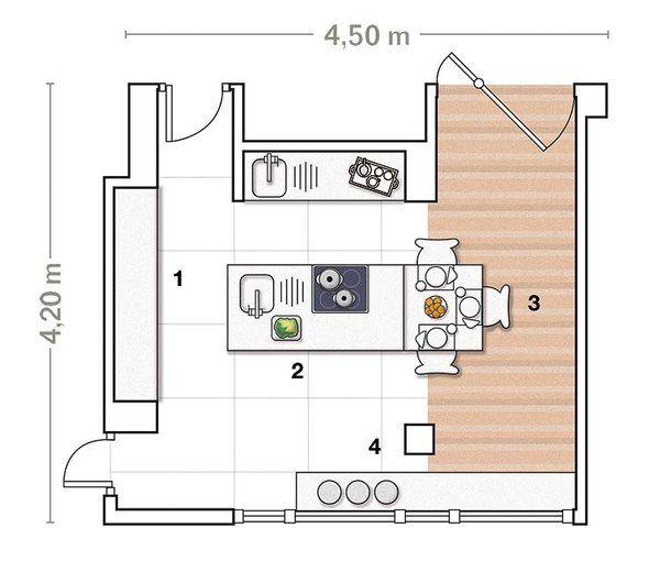 Una cocina amplia con isla de trabajo kitchens kitchen for Cocinas pequenas con isla