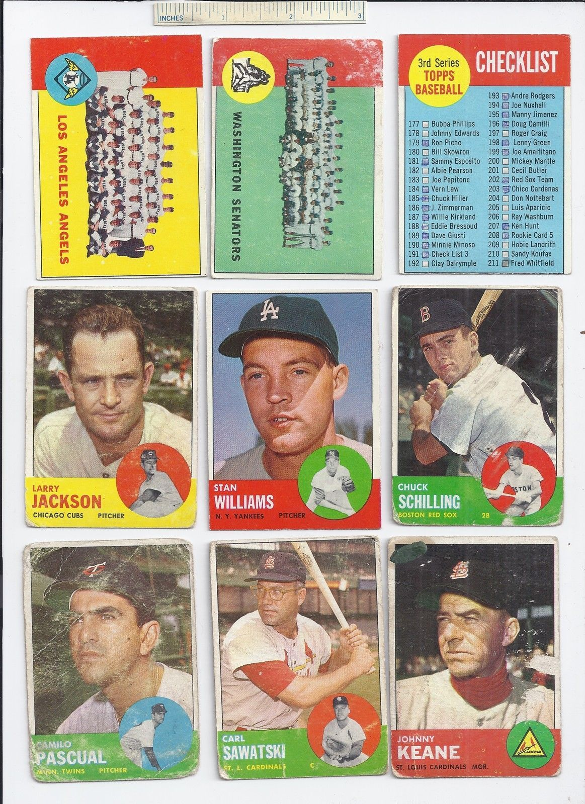 Lot of 20 Diff 1963 Topps Baseball Cards MLB Trading Major League w ...