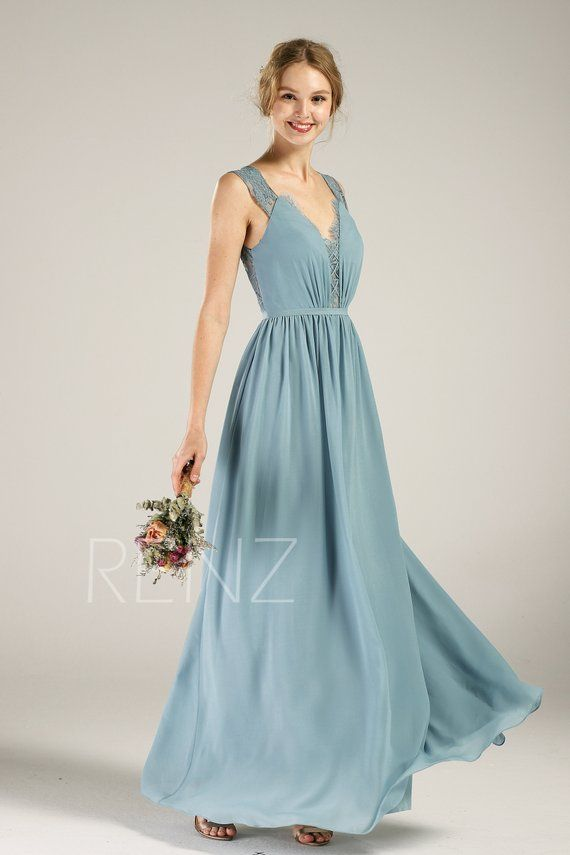 1e112a56fff07 Advertisement; Bridesmaid Dress Dusty Blue Chiffon Dress Long Wedding Dress  V Neck Maxi Dress Illusion Lace Open