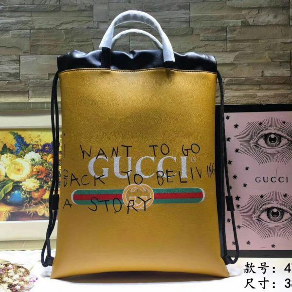 Gucci AAA Quality Hangbags Coco capitan Yellow 2017 Gucci Coco Capitan Logo  Backpack Yellow calfskin leather 6bd7bc2b4c29a