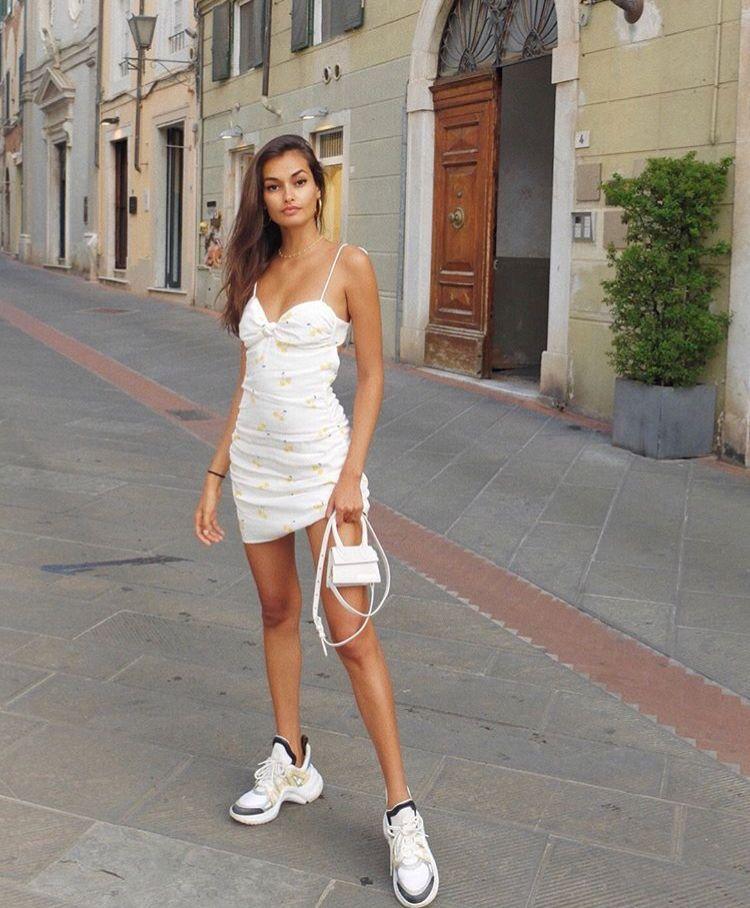 white spaghetti strap dress with yellow