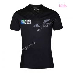 2015 New Zealand World Cup Black Kids Youth Rugby Shirt Shirts Rugby Black Kids