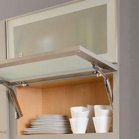 Gentil Cabinets With Aluminum Frame Glass Doors, Lower Door Open To Show Horizontal  Hinge