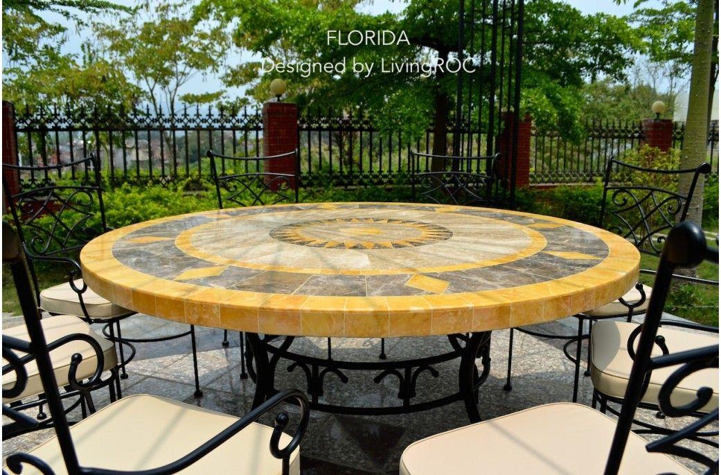 Table de jardin ronde 125-160 mosaïque de marbre FLORIDE | Table ...