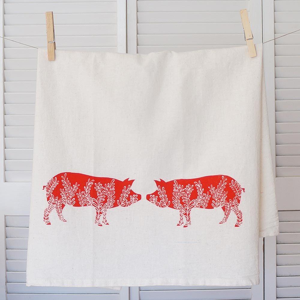 Beautiful Hand Printed Pig Kitchen Towel | North Carolina Home Decor