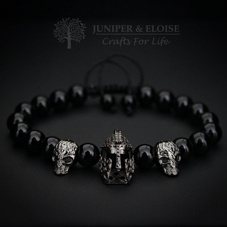 Spartan helmet bracelet mens bracelet black bracelet bracelet for