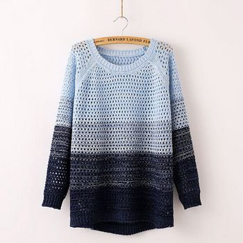 Top Quality Women Color Block Sweater; Female TEEMS Fashion Casual Korean Style Striped Hollow Pullover Sweater Coat  Knitwear