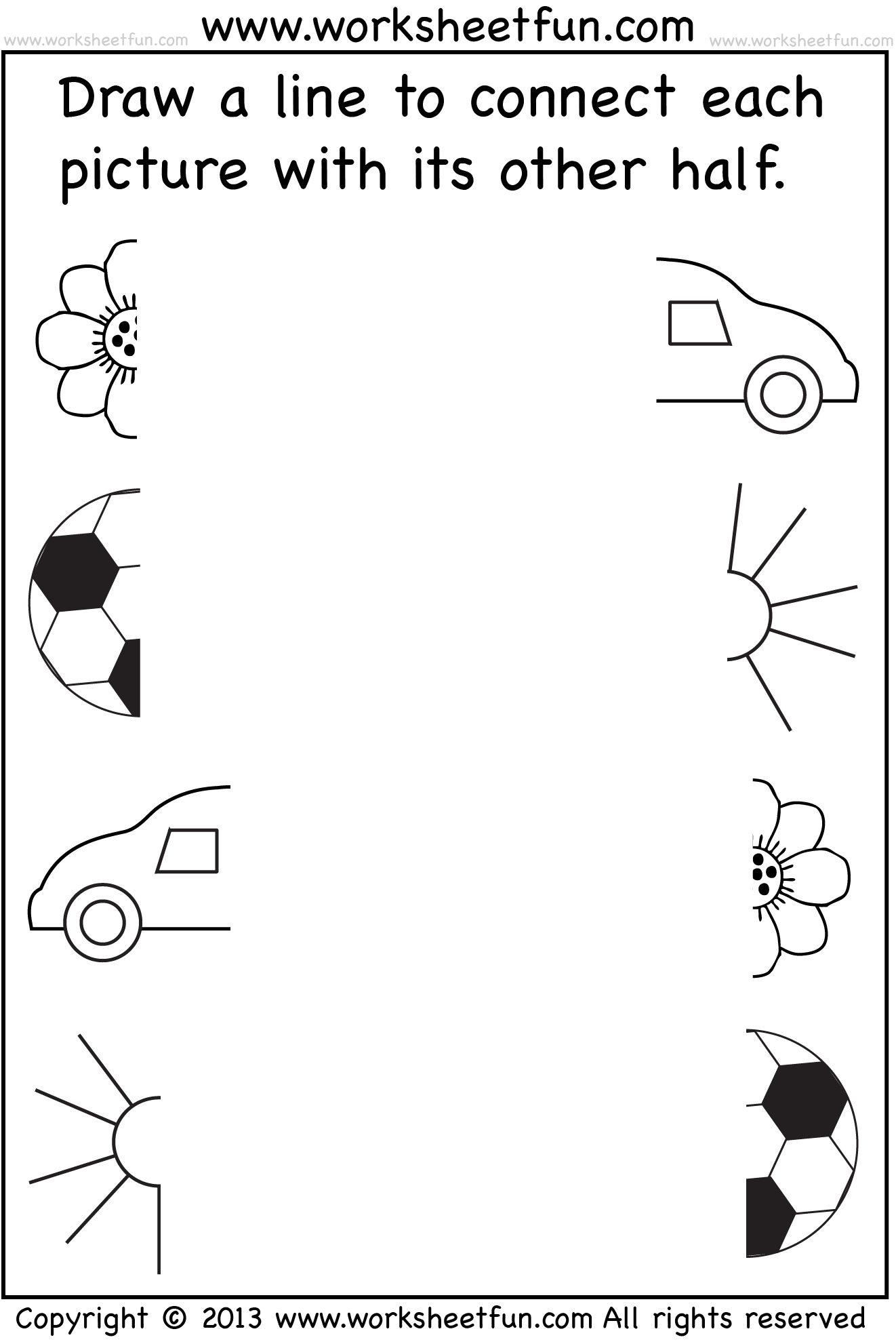 Preschool Worksheets - Connect Pictures - 5 Worksheets