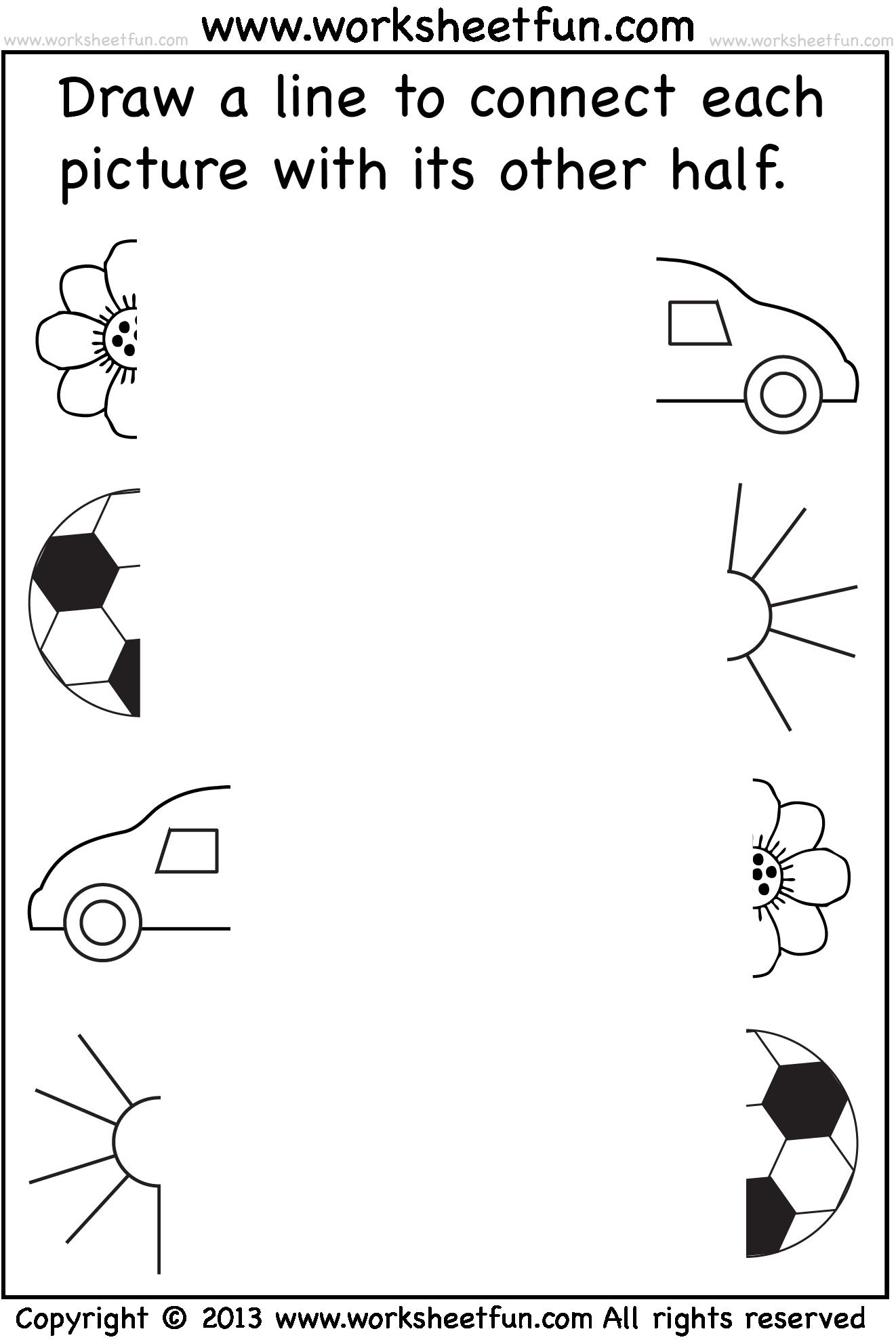 Preschool Worksheets - Connect Pictures - 5 Worksheets   Tarefas para  educação infantil [ 1982 x 1322 Pixel ]