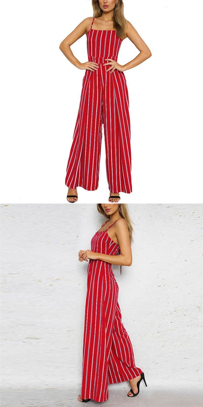 a5c7547ab25 Sleeveless striped rompers womens jumpsuit casual wide leg pants outfit red  overalls for women s8717 dropship  women  jumpsuits     rompers  ankle- length ...