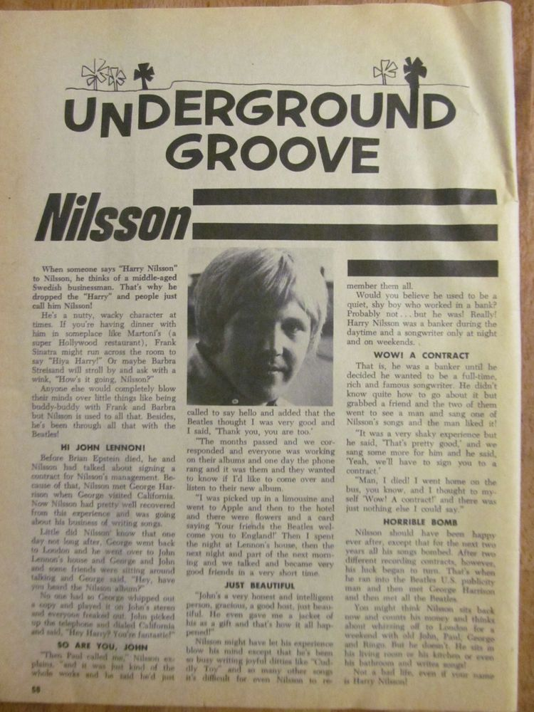 Harry Nilsson, Full Page Vintage Clipping Harry nilsson