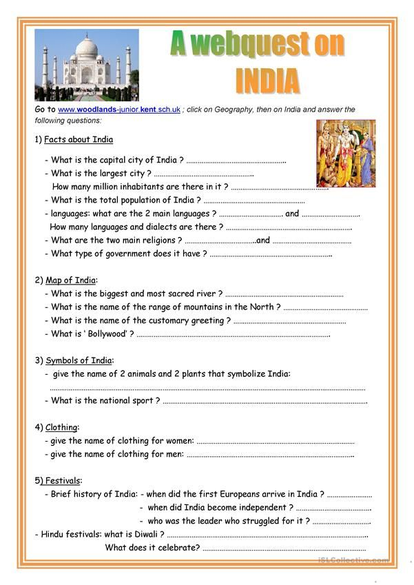 A Webquest On India India Pinterest Worksheets Printable