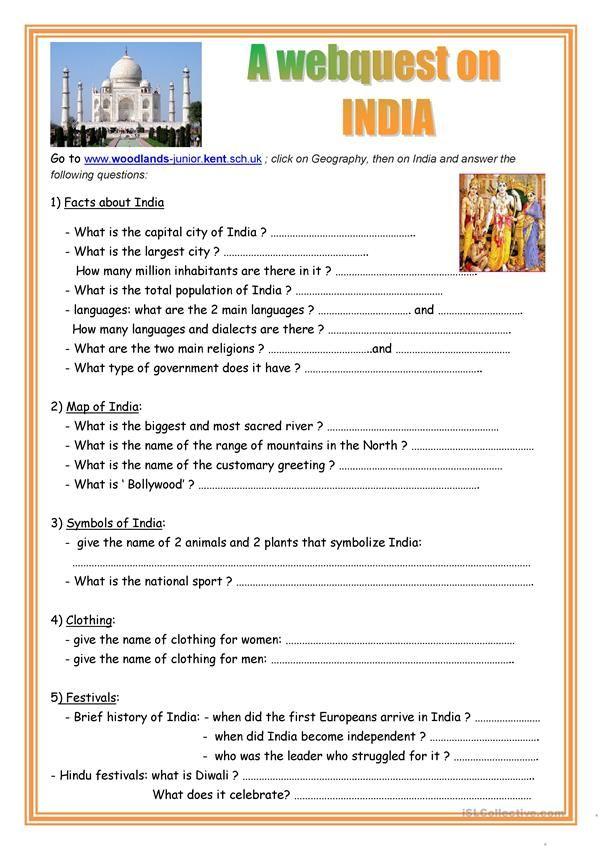 A Webquest On India India India School India