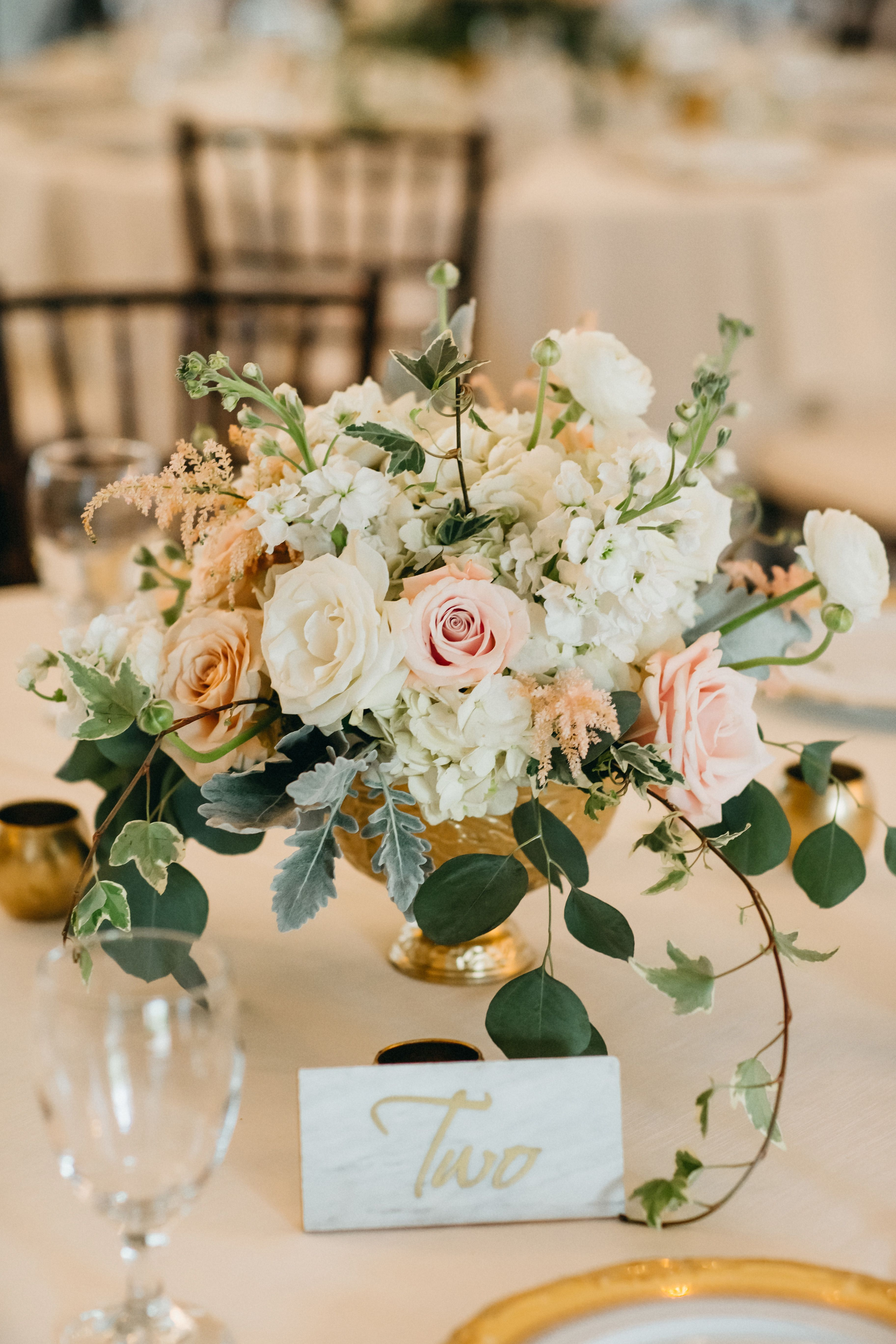 Floral Center Arrangement With Blush Ivory Gold And Greenery