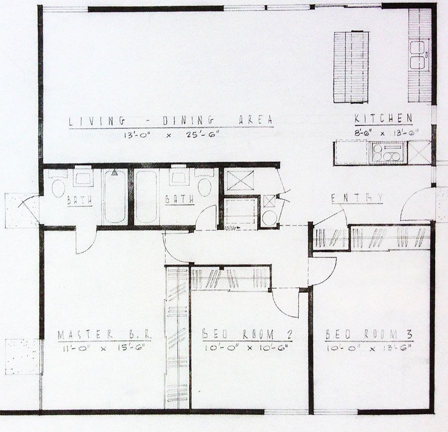 The Basic Floor Plan Of An Alexander Mid Century Tract Homes Floor Plans Mid Century Modern House Modern Floor Plans