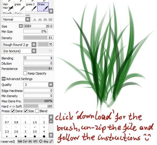 Brushes For Character Design : Paint tool sai grass brush by childofmoonlight viantart