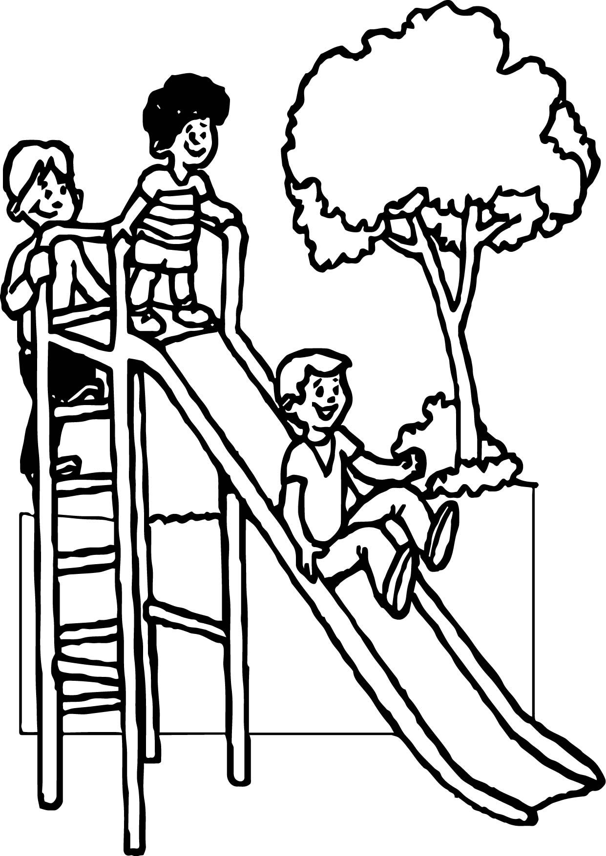 Awesome Summer Slide Kids Coloring Page
