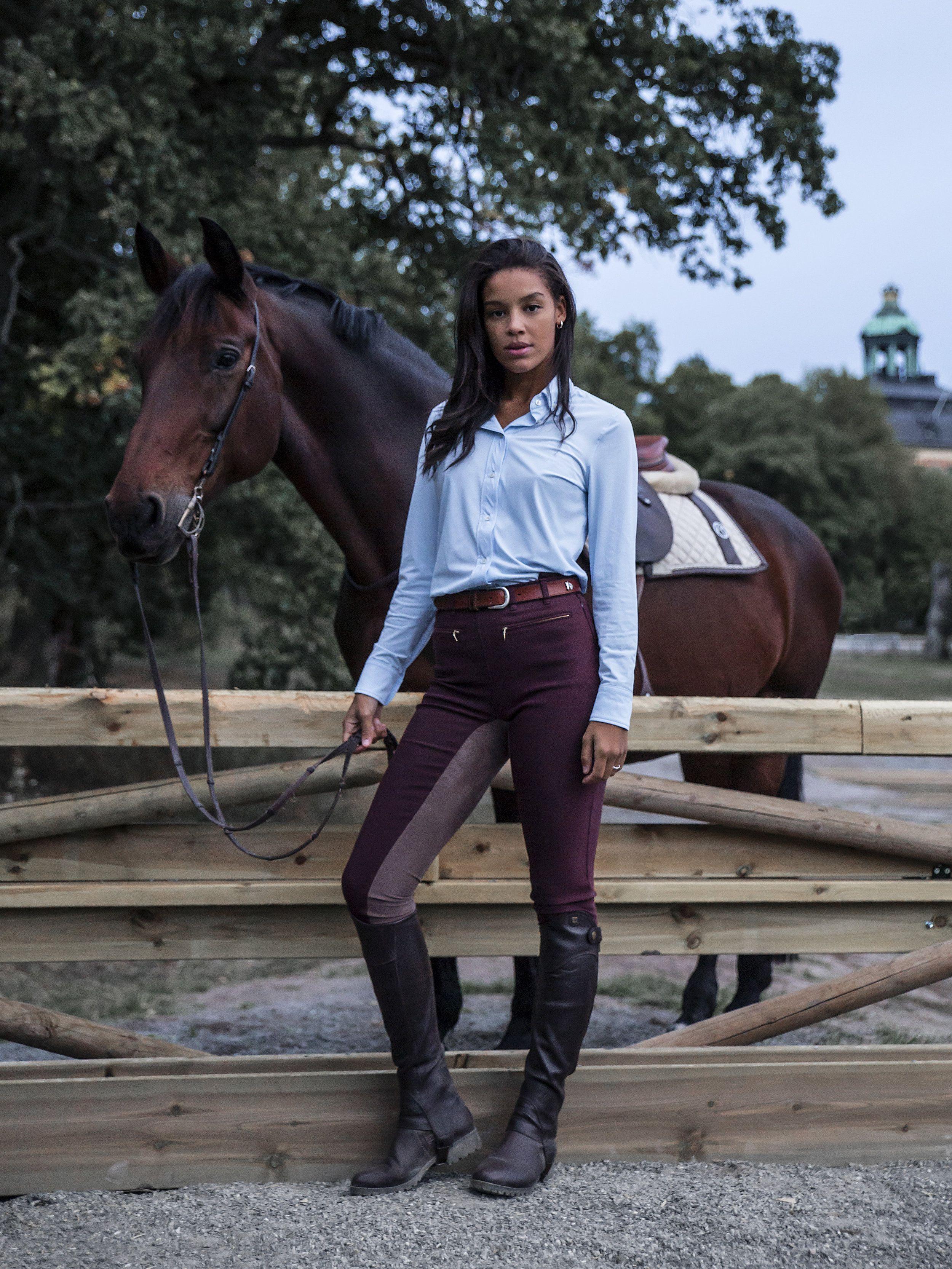 Bianca Full Seat Breeches Wine Red Equestrian