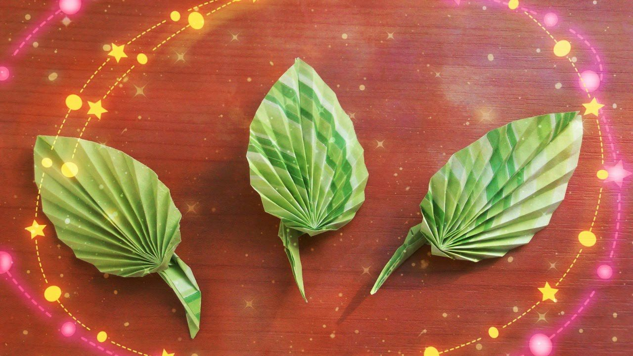 How To Create Cute Paper Leaves For Origami Rose Greeting Cards