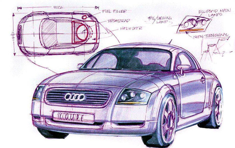 Audi Tt Concept 1995 Original Sketch By Freeman Thomas Ben