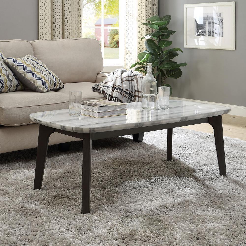 Venetian Worldwide Calvisia Marble And Gray Oak Coffee Table Va 83010 Marble Top Coffee Table Oak Coffee Table Grey Oak