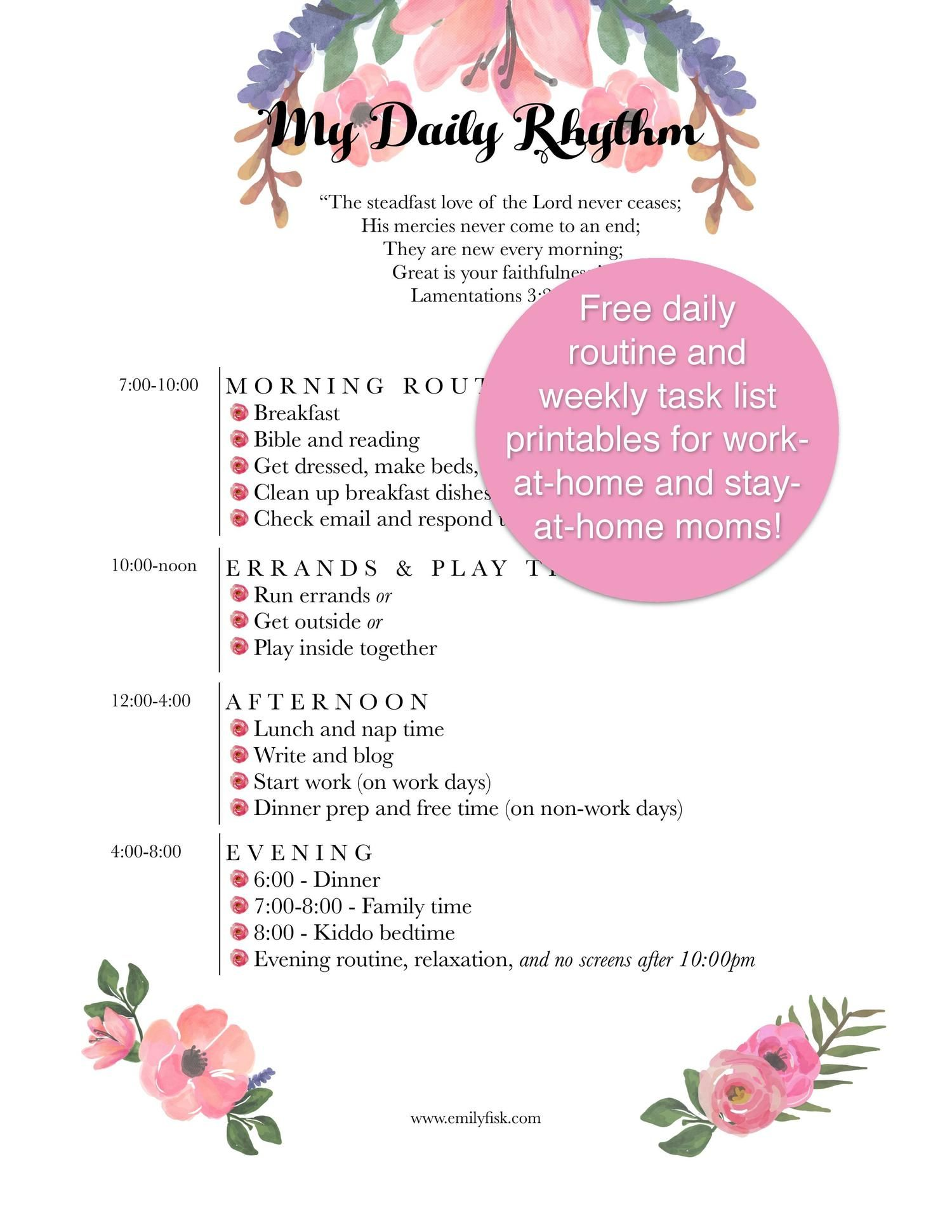 Free Weekly Cleaning List And Daily Routine Printables