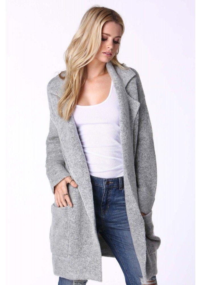 a3abc10c1 Ashley Oversized Sweater Jacket in Heather grey