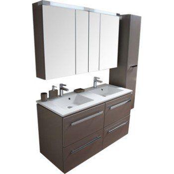 Meuble sous-vasque l120 x H656 x P48 cm, taupe, Neo Leroy - leroy merlin meuble salle de bain neo