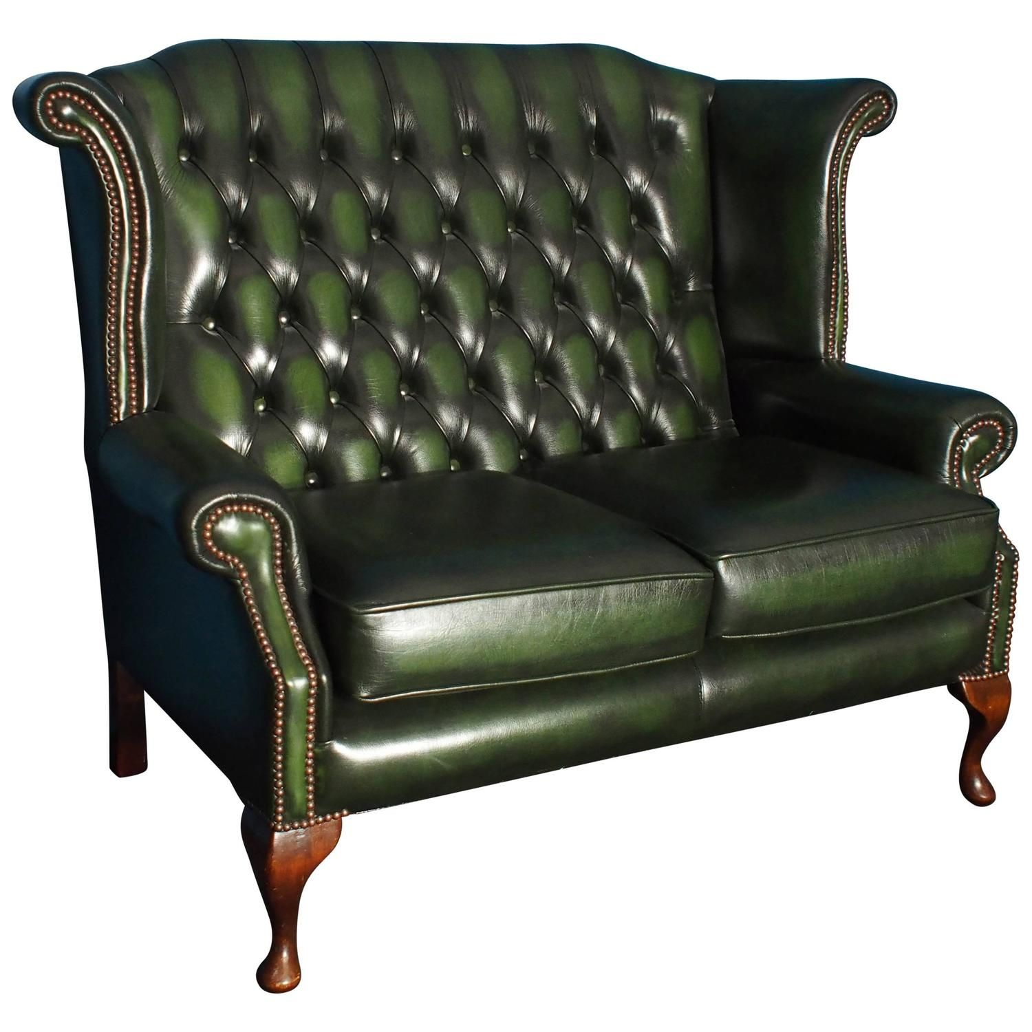 Antique Leather Three Seat Chesterfield Sofa