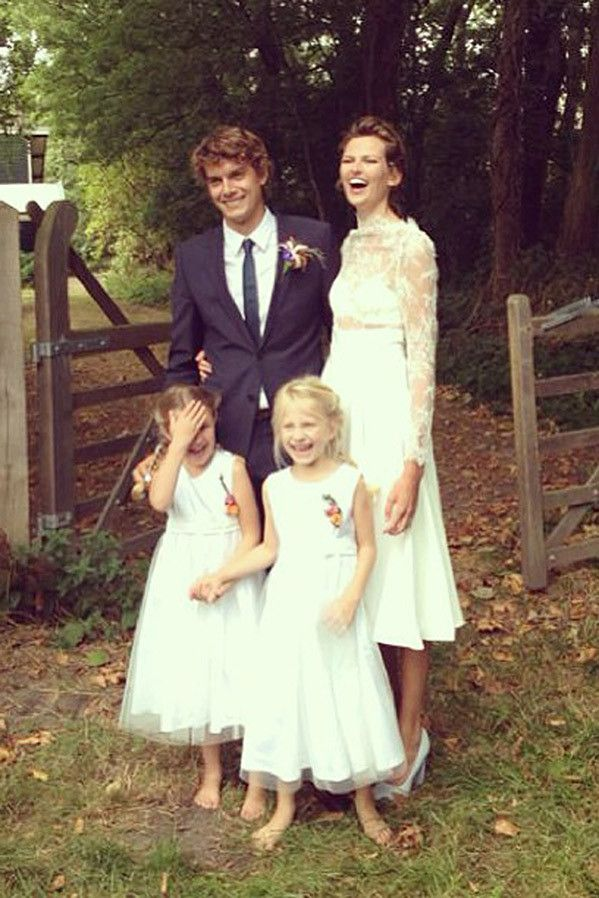 The Most Beautiful Celebrity Wedding Dresses: Bette Franke: Model Bette Franke paved the way for the shorter wedding dress when she stepped out in this design by her sister, Sanne Franke.