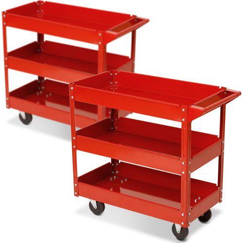 two red tool trolleys 3 level shelf workshop garage. Black Bedroom Furniture Sets. Home Design Ideas