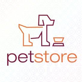 Doggy Logo Design In Front Of A Food Bowl Made From Lines For Sale On Stocklogos Pet Store Logo