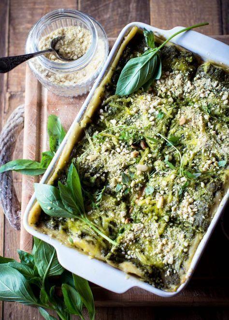 Lasagnes végétaliennes au pesto d'épinards et de lentilles -