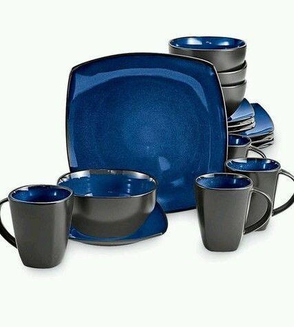 Dinnerware Set Dinner 16pc piece Blue Stoneware Square Soho Lounge Plates Bowls & Dinnerware Set Dinner 16pc piece Blue Stoneware Square Soho Lounge ...