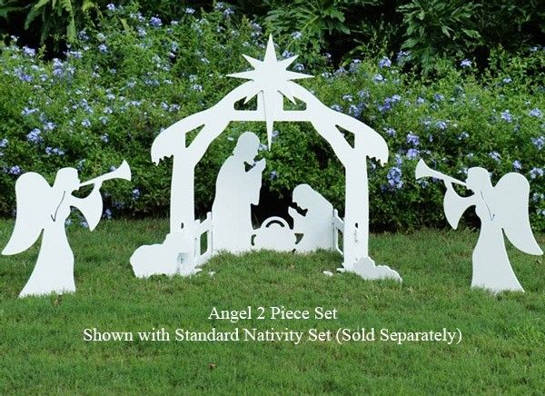 Silhouette style Outdoor Nativity Scene with Angel Figures Outdoor - outdoor angel christmas decorations
