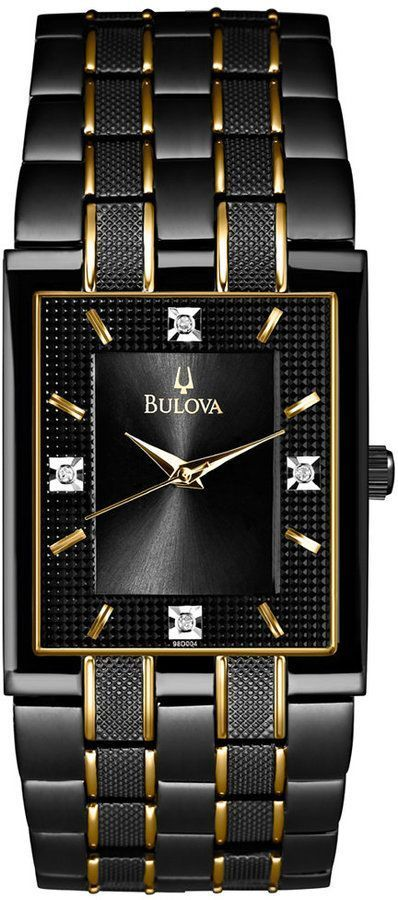 Bulova Men\'s Diamond Accent Black and Gold-Tone Stainless Steel ...