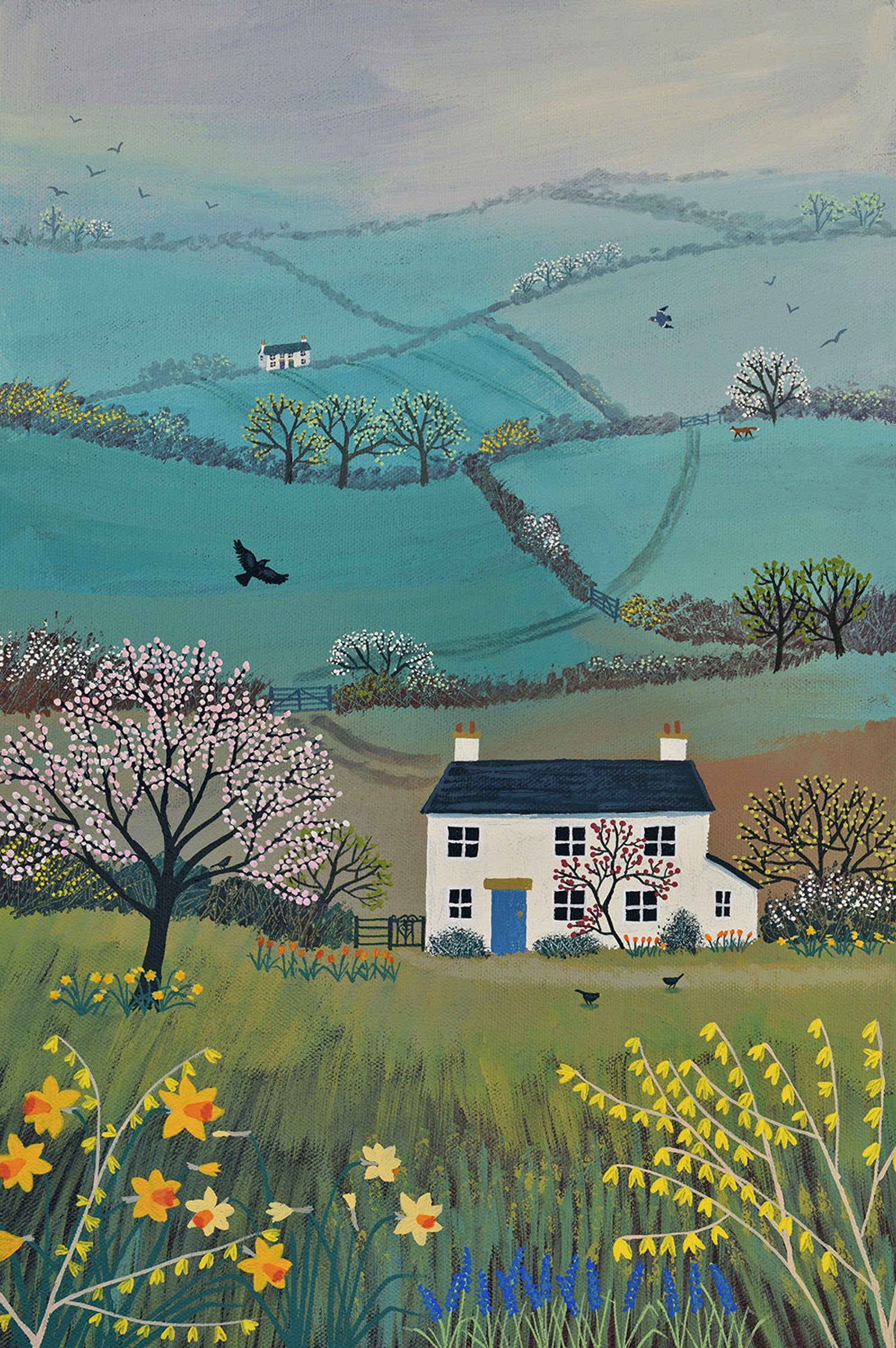 Print on paper of an English landscape in spring from an original acrylic painting 'Across Spring Hills' by Jo Grundy