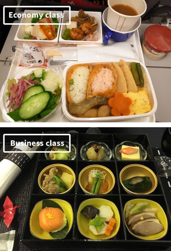 Airline Food Economy Vs First Class Abendessen Flug Luftfahrt