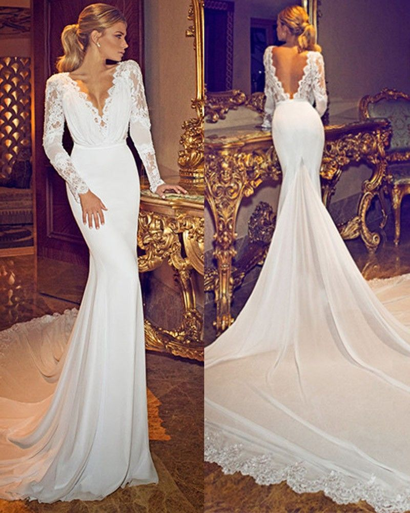 Wedding Gowns With Designs : Chiffon lace deep v neck long sleeves wedding gowns open