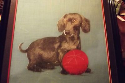 Vintage Framed Picture of a Black Dachshund Doxie Dog With Ball