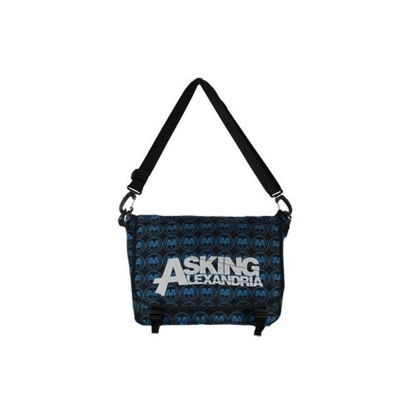 Asking Alexandria All Over Messenger Bag ($58) ❤ liked on Polyvore featuring bags, messenger bags, asking alexandria, backpacks, aa, logo bags, courier bag, blue bag, messenger bag backpack and blue backpack