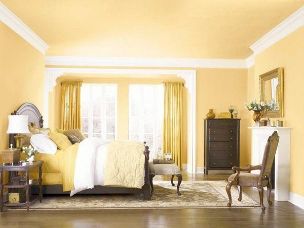 Schlafzimmer Wandfarbe Gelb Farbpalette Wandfarben Ideen ... Farbpalette Wandfarben Braun